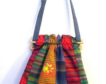 Ruffled Bag in Multi Stripes