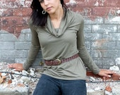 Stella - women's long sleeve top with loose cowl in khaki bamboo jersey