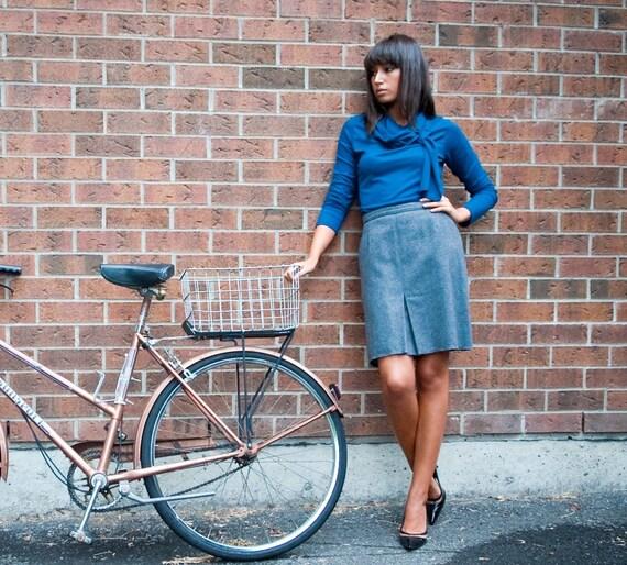 Victoria long sleeve top - women's fall fashion - wraparound turtleneck shirt in dark blue rayon jersey