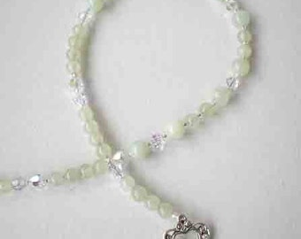 Chinese Jade Gemstone Necklace w Swarovski Clear Crystals
