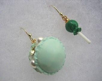 Mini Dessert Earrings, Green Sweets Earrings, Mismatch Food Jewelry, Macaroon Earrings, Lollipop Earrings, Miniature Food Earrings, Gifts