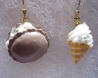 Mini Dessert Earrings, Brown Sweets Earrings, Mismatch Food Jewelry, Macaroon Earrings, Ice Cream Earrings, Miniature Food Earrings, Gifts