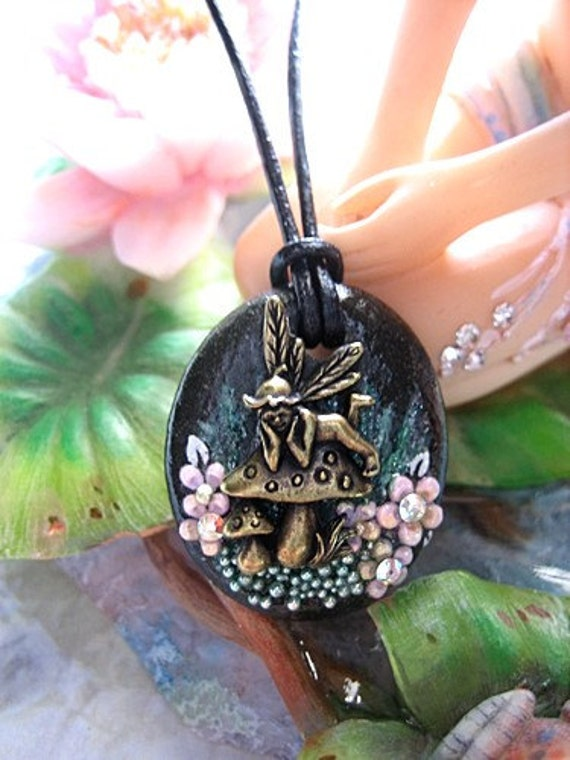 Mushroom Fairy Surrounded With Pink Flowers Necklace Faerie Fae Fantasy Mystical Realm Nature Stone Flowers Jewelry Fairytale Storybook