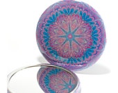 Pocket Mirror Mandala 8, Purple & Blue Mirror, Mandala Mirror, Kaleidoscope Mirror, Stocking Stuffer, Art Mirror