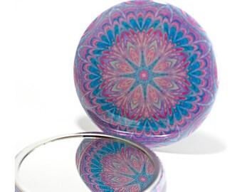 Pocket Mirror Mandala 8, Purple & Blue Mirror, Mandala Mirror, Kaleidoscope Mirror, Stocking Stuffer, Art Mirror
