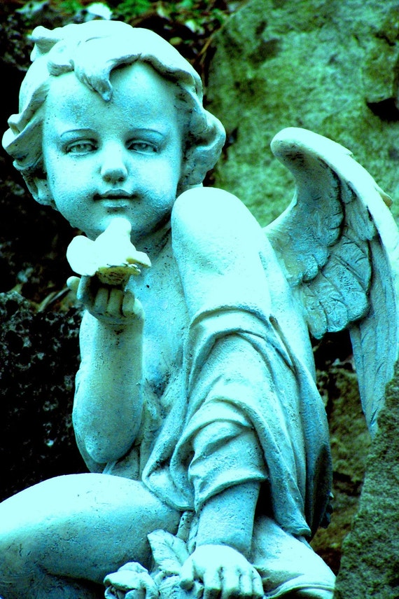Cherub in the Grotto tinted, 5x7 photographic print