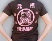 Sale Women Kawaii KittyBrown with Pink print T