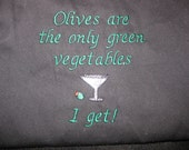 Apron Olives Green Vegetables Embroidery 32""