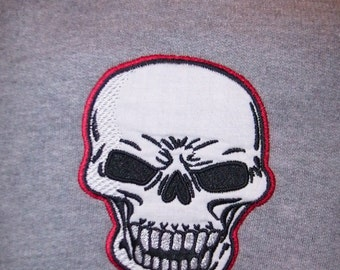 SKULL Hooded Sweatshirt Applique Embroidery Made to Order