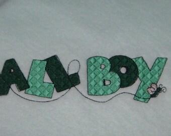 Lightweight Blankie ALL BOY Embroidered Fleece Blanket Light Green Ready to Ship