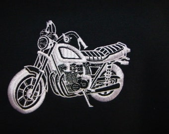 BIG MOTORCYCLE Hooded Sweatshirt Large Design Embroidered Bike - Made To Order