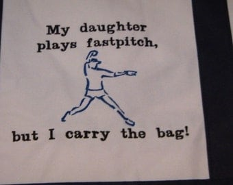 Tote Bag Fastpitch Softball Pitcher Canvas EMBROIDERED Large Bag Mom Navy Blue