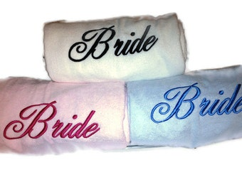 BRIDE'S BEACH TOWEL Spa Day Embroidery 100% cotton terry velour Bridal Gift Made to Order