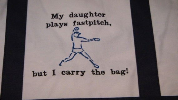 HUGE Cyber SALE 75% off Large Tote Bag Fastpitch Softball Pitcher Canvas EMBROIDERED Large Bag Mom Navy Blue - Ready to Ship