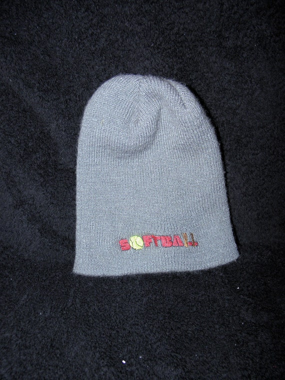 CRAZY Sale SOFTBALL embroidered grey Cap Adult Knit Beanie with Yellow Ball