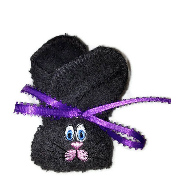 Embroidered Boo-boo Bunny for Baby, Shower, Gift, Easter Basket  DARK CHARCOAL Bunny Rabbit