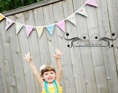 Fabric Bunting in Bright Shabby Chic Prints, One of  a Kind Banner, Photo Prop. 13 Medium Sized Flags. Wedding Decor, Garland Bunting.