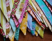 30' Bunting, Custom Fabric Party Flags, Wedding Decoration, Photo Prop, Birthday Parties, Decor Medium Sized Flags. Your Color Choices.