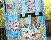 Custom Earthy Quilt Blanket.  Gender Neutral for a Great Shower Gift Idea. Made To Order.
