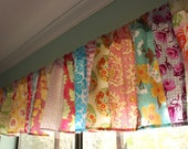 Patchwork Valance, Shabby Chic Window Treatment. Made to Order.