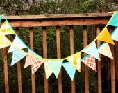 Pair of Fabric Bunting for Boys, Flag Pennant Party Banners, Bedroom Decor, Photo Props, Surprise Banners. Personalization Opt..