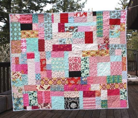 Twin Bed or Large Throw Quilt.  Modern Bedding.  Professionally Quilted.  Custom Colors and Prints.