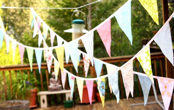 Wedding Bunting, Long Flag Pennant Banner, Event Decor, Photo Prop, 40 feet, Cotton Fabrics in a Mix of Designer's Choice Prints. Birthday.