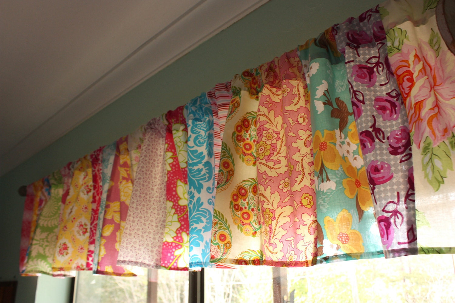 Patchwork valance shabby chic window treatment made to Shabby chic curtain window