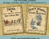 Winter Farmhouse Label Printables - Fireside Cocoa Crystal Sugar - Sleigh, Snowman In Meadow Primitive Rustic Style Crate Labels - PDF & JPG