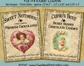 Instant Download - Printable Farmhouse Labels - Valentine Chocolates - Digital PDF or JPG File