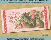 INSTANT DOWNLOAD - Printable Popcorn Wrapper - Vintage Valentine Cats - Digital PDF File