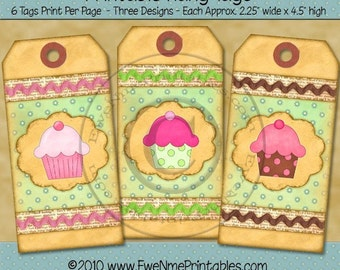 Cupcake Gift, Hang Tags -  Printable Sheet Tags - Shabby Cottage Rustic Style - Pink Green Chocolate Brown Colors - Digital PDF, JPG file
