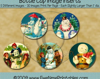 Vintage Snowmen Bottle Cap Image Printables - Old Snowman Images - Victorian Snowman - Primitive Rustic Design -  PDF and/or JPG File