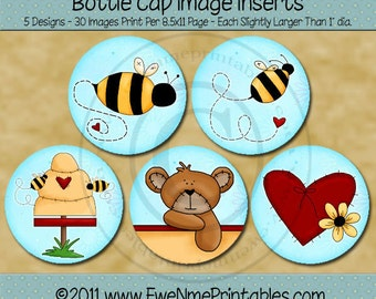 Bears Bees Hearts Printable Bottle Cap Images on blue background - All Abuzz  -  PDF and/or JPG File - 4x6 jpg file also included