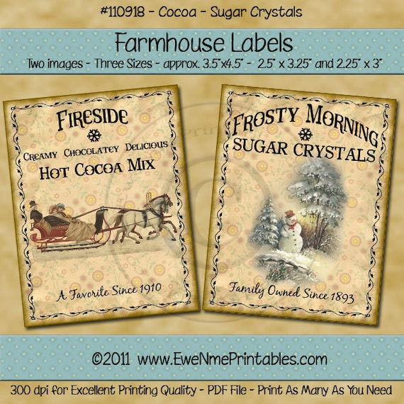 Instant Download - Printable Farmhouse Labels - Fireside Cocoa and Crystal Sugar - Digital PDF or JPG File
