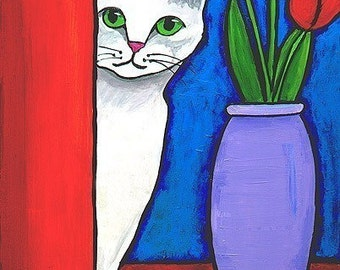 White Cat and Red Tulips - Print Shelagh Duffett