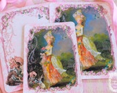Marie Antoinette la Belle Dame Confiseries le Lapin Card or Invitations Set of 6 with Pink Shimmering  Envelopes and Glossy Seals