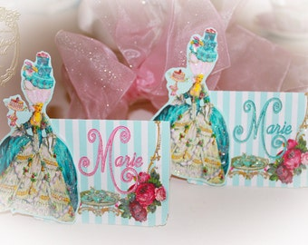 Marie Antoinette Bleu Cakes and Pink Rose Tea Die Cut Placecards Set of 6