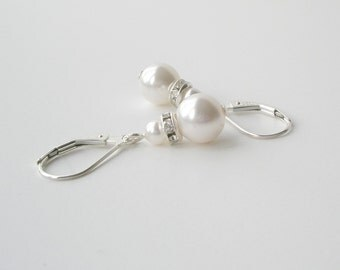 White Pearl Earrings, Sterling Pearl Bridal Earrings, Bridesmaid Jewelry, Wedding Party Jewelry, Bridal Accessory, Simple Pearl Earrings