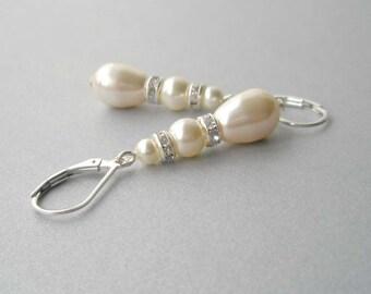 Ivory Pearl Teardrop Earrings,  Pearl Bridal Earrings, Pearl and Sterling Dangle Earrings, Bridesmaid Jewelry, Swarovski Cream Pearl