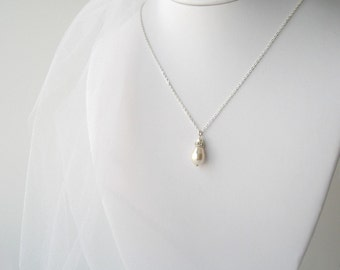 Ivory Pearl Bridal Necklace, Bridesmaid Jewelry, Pearl Teardrop Necklace with Sterling Chain, Bridal Accessory, Wedding Jewelry, Cream Pearl