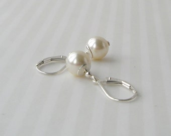 Ivory Pearl Earrings, Sterling Pearl Earrings, Pearl Drop Earrings, Simple Pearl Earrins, Swarovski, Cream Pearl, Silver and Pearl Earrings