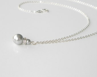 Grey Pearl Sterling Necklace, Simple Pearl Pendant Necklace, Gray Pearl Jewelry, Bridesmaid Gift, Handmade Bridesmaid Necklace, Swarovski