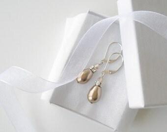 Pearl Teardrop Earrings, Bridesmaid Jewelry, Bronze Pearl Earrings, Gold Crystal, Swarovski, Pearl and Crystal Earrings, Wedding Jewelry