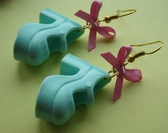 Turquoise Chunky Platform Shoe Earrings
