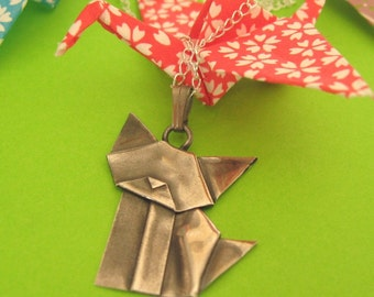 Hand Folded Silver Origami Cat Pendant - Large Fine Silver