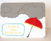 "RESERVED FOR ANN  Red and Yellow Umbrella And Clouds Card ""You Make Me Happy"" set of 3"