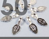 GENUINE AANRAKU Medium size - 50 Sterling Silver Plated Bails - Perfect for Scrabble Tile, Glass and Resin Pendants