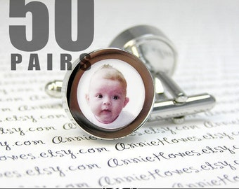 BULK LOT of Photo Cufflinks. Create Your Own Photo Cuff Links. Easy to Make. Add Your Own Image. 50 Pairs.