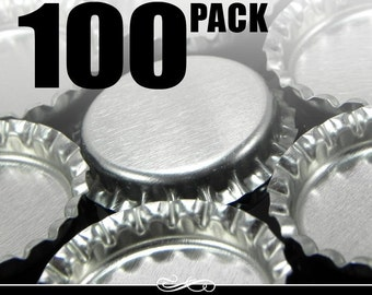100 Regular Chrome Bottle Caps WITHOUT LINERS - New - Annie Howes